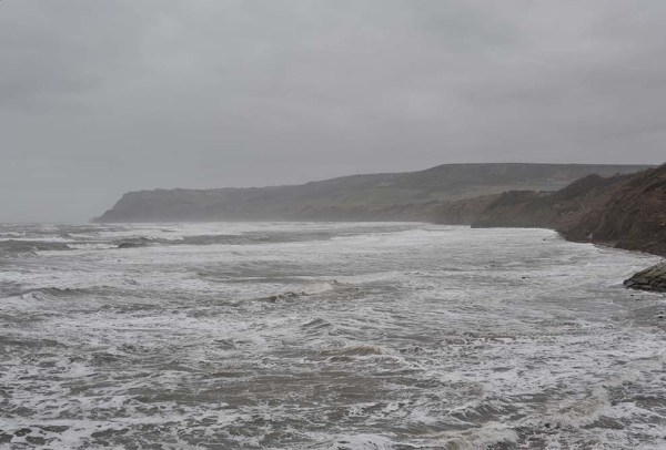 """Boiling"" sea in Robin Hoods Bay - March 23,2013"