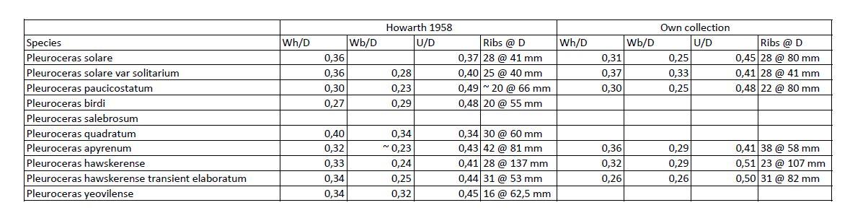 Measurements of Pleuroceras species